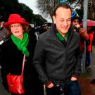 Leo enjoys a break from the political scrum: Public Expenditure Minister Leo Varadkar and Senator Maria Byrne make their way to the Six Nations clash between Ireland and France at the Aviva Stadium on Saturday. Photo: Stephen McCarthy