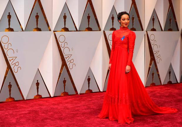 Actress Ruth Negga poses on the red carpet. REUTERS/Mike Blake