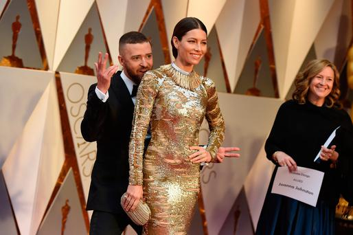 Justin Timberlake, left, and Jessica Biel arrive at the Oscars on Sunday, Feb. 26, 2017, at the Dolby Theatre in Los Angeles. (Photo by Jordan Strauss/Invision/AP)