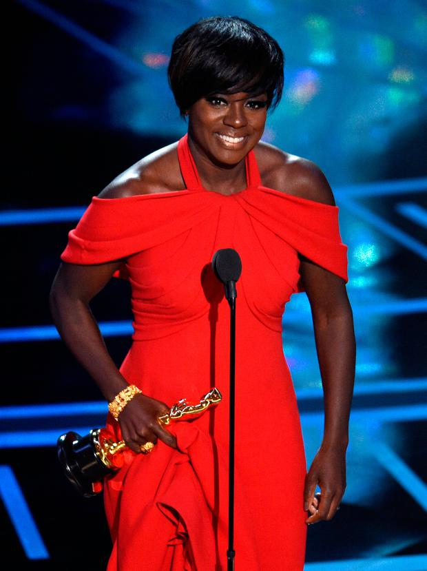 Viola Davis accepts the award for best actress in a supporting role for