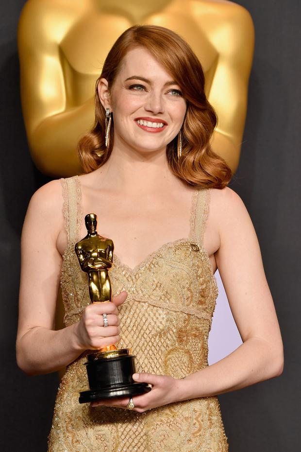 Actor Emma Stone, winner of the award for Actress in a Leading Role for 'La La Land,' poses in the press room during the 89th Annual Academy Awards at Hollywood & Highland Center on February 26, 2017 in Hollywood, California. (Photo by Steve Granitz/WireImage)
