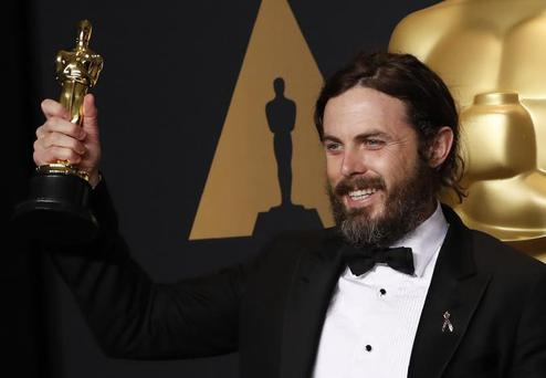 89th Academy Awards - Oscars Backstage - Hollywood, California, US - 26/02/17 - Casey Affleck poses with his Oscar for Best Actor for