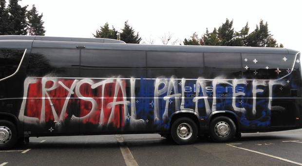 Images posted on Twitter reveal the damage done to the team coach CREDIT: TWITTER @JACKWILLIS