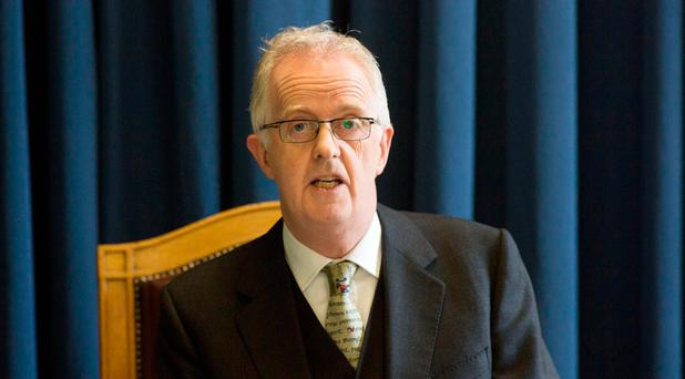 Justice Peter Charleton, Presiding over the Disclosure Tribunal at its opening at Dublin Castle. Photo Colin O'Riordan