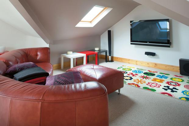 The TV room in Aengus Mac Grianna's house is complete with comfy seating and surround sound, so is perfect for watching movies