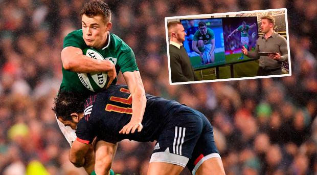 Garry Ringrose in action against France and (inset) Luke Fitzgerald on this week's episode of The Left Wing