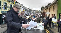 Colm O'Donnell, INHFA chairman at a previous protest outside Enda Kenny's constituency office in Castlebar, Co Mayo. Photo: Michael McLaughlin