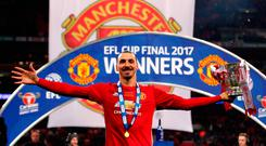 Manchester United's Zlatan Ibrahimovic with the trophy