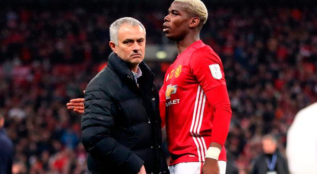 Manchester United manager Jose Mourinho and Paul Pogba