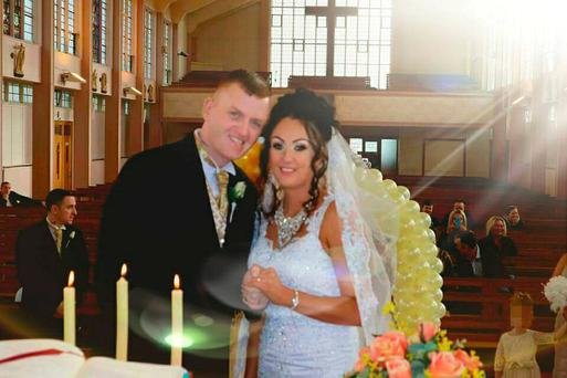 Thomas O'Neill and April Collins at their wedding. Picture: Facebook