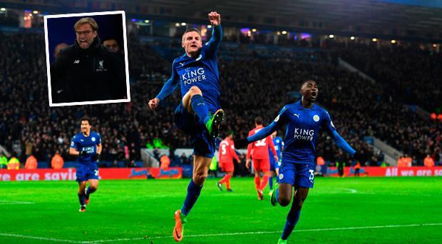 Jamie Vardy celebrates against Liverpool and (inset) Klopp is not happy