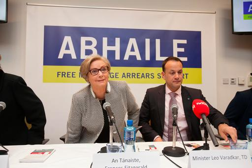 (L to R) Tanaiste Frances Fitzgerald TD & Minister for Social Protection Leo Varadkar TD during the launch of the Abhaile Information Campaign at the Citizens Information Board Headquarters on Townsend Street, Dublin. Photo: Gareth Chaney Collins