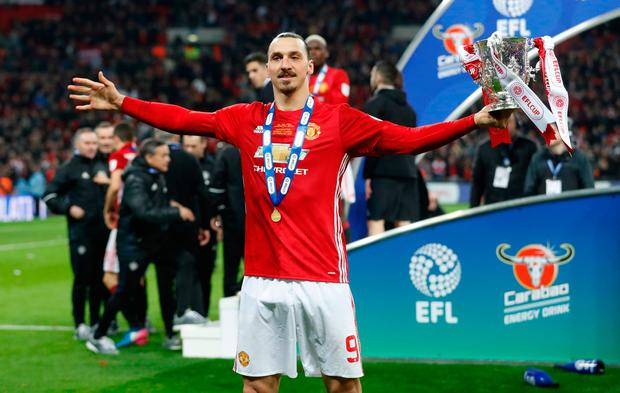 Manchester United's Zlatan Ibrahimovic celebrates with the League Cup trophy. Photo: Carl Recine/Action Images via Reuters