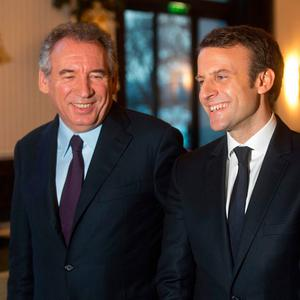 François Bayrou, left, with candidate Emmanuel Macron after their meeting in Paris. Photo: Thibault Camus