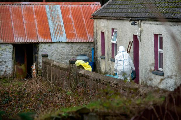 Garda forensics officers search for evidence at the home of the 90-year-old farmer Picture: Provision