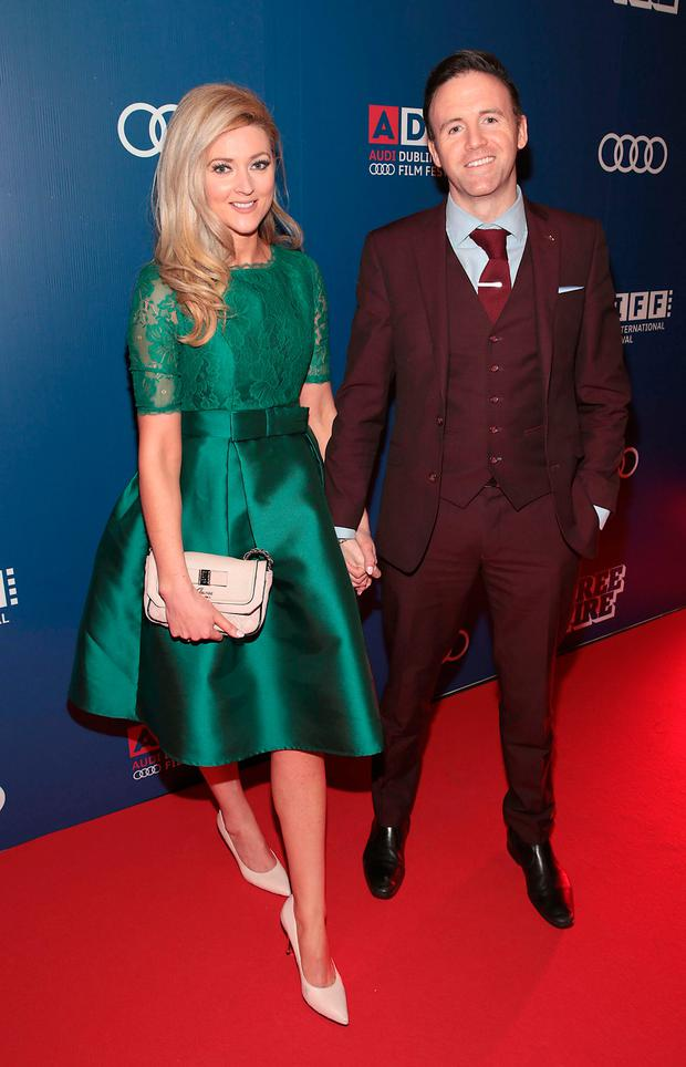 Jenny Dixon and boyfriend Tom Neville (TD) as they took to the red carpet at the Audi Gala screening of Free Fire at the Audi Dublin International Film Festival. Picture: Brian McEvoy