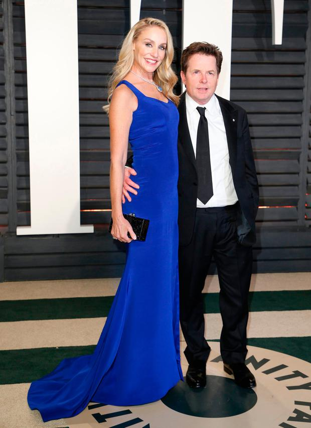 Michael J. Fox and wife Tracy Pollan at the Oscars Vanity Fair Party 2017. Picture: REUTERS/Danny Moloshok