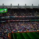 Kerry's James O'Donoghue is shown on the big screen as the teams are announced before the game. GAA Football All-Ireland Senior Championship Final, Dublin v Kerry, Croke Park, Dublin. Picture credit: Brendan Moran / SPORTSFILE
