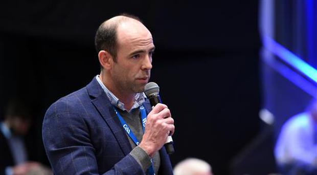 25 February 2017; Dermot Earley, CEO of the Gaelic Players Association, speaking against Motion 4 during the 2017 GAA Annual Congress at Croke Park, in Dublin. Photo by Ray McManus/Sportsfile