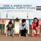 Sinead McGuinness (Pallasgreen), Shane Gill (Ahane), Ciaran Bridgeman (Knockaderry), Adam O'Dwyer (Croom), Micheala O'Donovan (Oola) and Oisin O'Farrell (St Senan's) at the launch of the Con and Annie Kirby Puppy Stakes at the Limerick Greyhound Stadium. Photo: Michael Cowhey