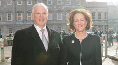 Peter Mathews and wife Susan at Leinster House in 2011 Photo: Gareth Chaney/Collins
