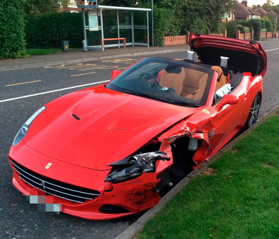 The brand new €175,000 Ferrari crashed by property developer Christopher David Walsh while over the alcohol limit Photo: Paul Higgins