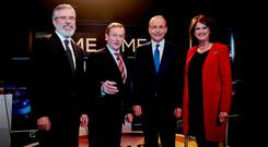 From left, Sinn Féin leader Gerry Adams, Taoiseach Enda Kenny of Fine Gael, Fianna Fáil leader Micheál Martin and then Tánaiste Joan Burton of Labour at the RTÉ 'Prime Time' Leaders' Debate last year. Photo: Maxwell