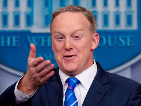 White House press secretary Sean Spicer confiscated colleagues' phones. Photo: AP