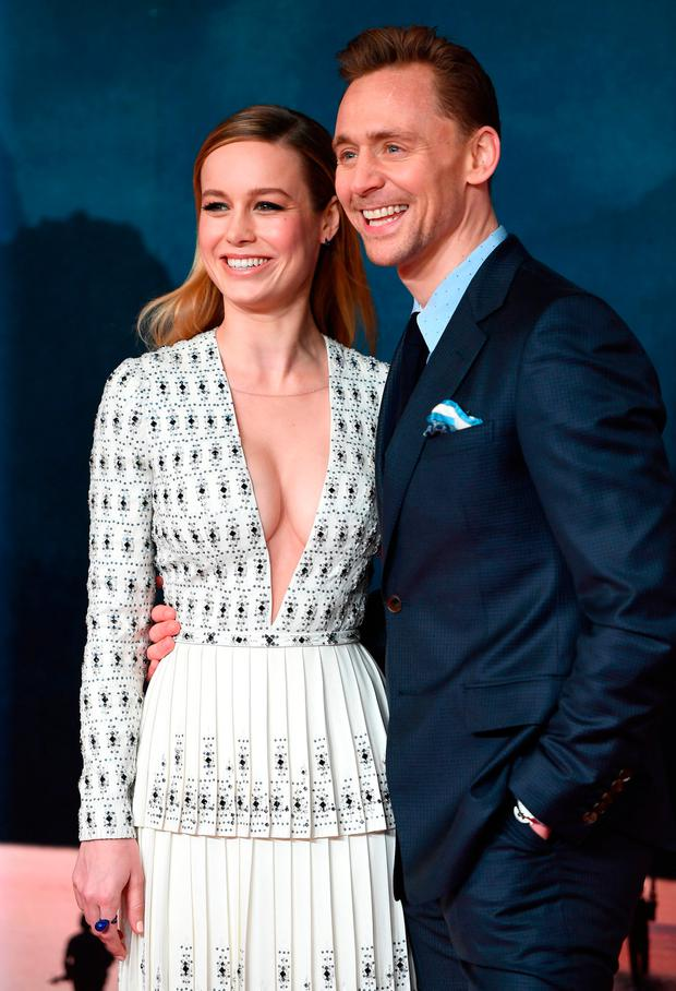 Brie Larson and Tom Hiddleston attend the European premiere of