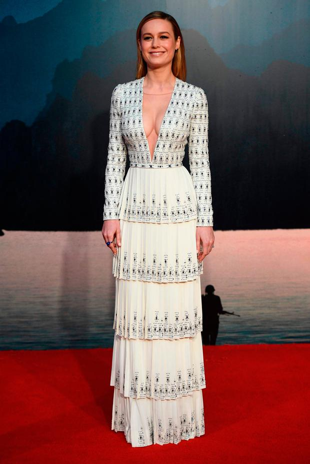 US actress Brie Larson poses upon arrival at the European premiere of
