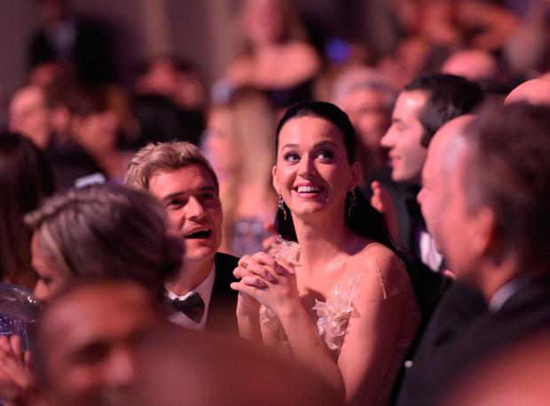 Orlando Bloom and Katy Perry attend the 12th annual UNICEF Snowflake Ball at Cipriani Wall Street on November 29, 2016 in New York City. (Photo by Jason Kempin/Getty Images for UNICEF)