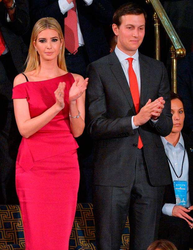 Ivanka Trump and husband Jared Kushner applaud as US President Donald Trump speaks during a joint session of Congress at the US Capitol in Washington, DC on February 28, 2017. / AFP PHOTO / MANDEL NGANMANDEL NGAN/AFP/Getty Images