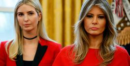 U.S. first lady Melania Trump and Ivanka Trump watch as U.S. President Donald Trump speaks in the Oval Office of the White House, in Washington, DC, U.S. February 28, 2017. REUTERS/Joshua Roberts