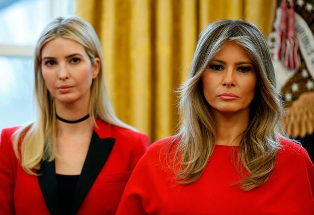 ee1b83f3c3b U.S. first lady Melania Trump and Ivanka Trump watch as U.S. President Donald  Trump speaks in