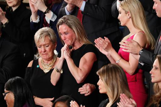 An emotional Carryn Owens as she was acknowledged by President Donald Trump during his address to a joint session of Congress. (AP Photo/Pablo Martinez Monsivais)