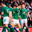 Conor Murray of Ireland is congratulated by team mates Sean O'Brien and Keith Earls