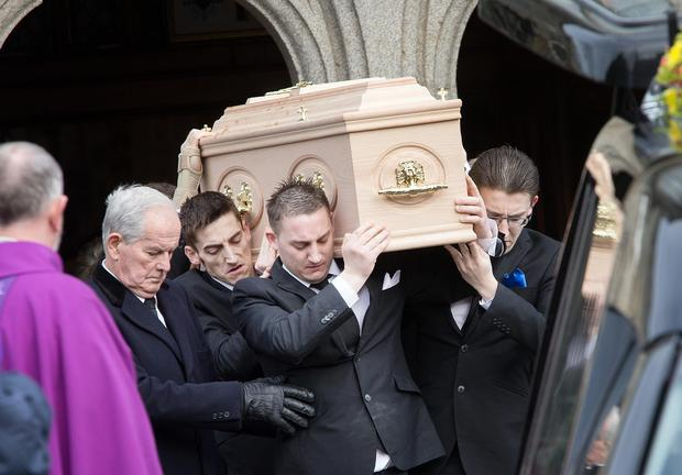 The coffin of David (Motcha) Walsh is taken from St Aidan's Cathedral Enniscorthy. Photo: Tony Gavin