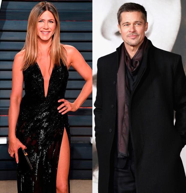 Jennifer Aniston, left, and Brad Pitt, right