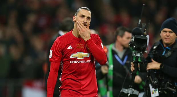 LONDON, ENGLAND - FEBRUARY 26: A thoughtful looking Zlatan Ibrahimovic of Manchester United during the EFL Cup Final match between Manchester United and Southampton at Wembley Stadium on February 26, 2017 in London, England. (Photo by Catherine Ivill - AMA/Getty Images)