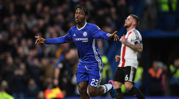 LONDON, ENGLAND - JANUARY 28: Michy Batshuayi of Chelsea celebrates scoring his side's fourth goal during the Emirates FA Cup Fourth Round match between Chelsea and Brentford at Stamford Bridge on January 28, 2017 in London, England. (Photo by Shaun Botterill/Getty Images)