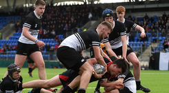 Tadgh O'Neill of Wesley College goes over to score his side's first try during the Bank of Ireland Leinster Schools Junior Cup Second Round match against Newbridge College. Photo: David Fitzgerald/Sportsfile
