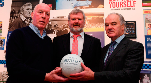 Dublin GAA legends Brian Mullins, left, Tony Hanahoe, right, and Kerry GAA legend Eoin Liston at the launch of 'New Ireland presents Heffo's Army', a new exhibition in the Little Museum of Dublin. Photo: Stephen McCarthy/Sportsfile