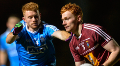 Westmeath's Ronan Wallace in action against Dublin's Aaron Byrn during the EirGrid Leinster GAA Football Under 21 Championship Quarter-Final. Photo: Piaras Ó Mídheach/Sportsfile