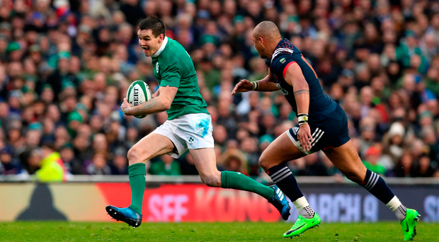 France's Gael Fickou attempts to close down Johnny Sexton at the Aviva Stadium last Saturday Picture: PA