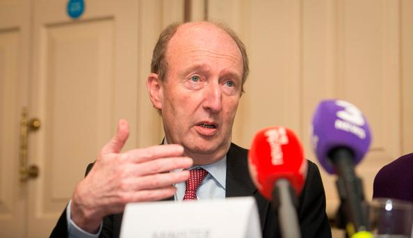 Transport Minister Shane Ross during a Press Briefing at Buswells Hotel, Dublin following a meeting between the Committee on Transport Tourism & Sport & Road Saftey bodies on Road Safety Strategy at Leinster House, Dublin. Photo: Gareth Chaney Collins
