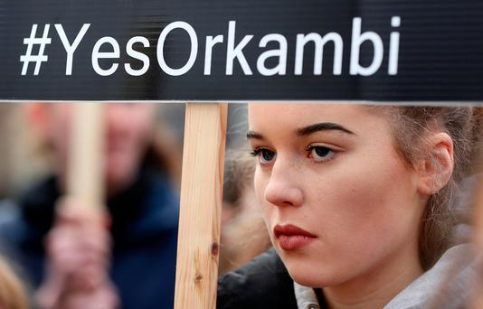 Rachael Hegarty takes part in the cystic fibrosis protest in Dublin yesterday. Photo: Gerry Mooney