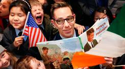 Ryan Tubridy with pupils from the Central Model School at the launch of 'Patrick and the President'. Photo: Gerry Mooney