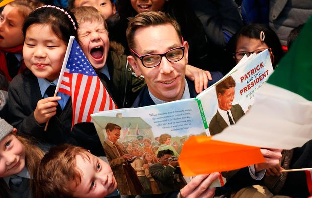 Ryan Tubridy with pupils at the launch of 'Patrick and the President'. Photo: Gerry Mooney