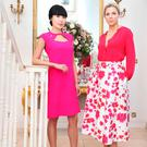 Yomiko wearing Lila Fuchsia Crepe dress (€695) and Sarah wearing Abby blouse (€495), Alina skirt (€1,495). Photo: Sasko Lazarov/Photocall Ireland