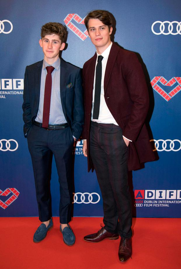 Fionn O'Shea & Nick Galitzine walk the red carpet at the Gala Irish premiere of The Handsome Devil as part of the Audi Dublin International Film Festival at the Savoy Cinema. Picture: Fergal Phillips